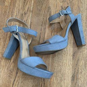 LC Lauren Conrad blue faux suede heels, 9.5